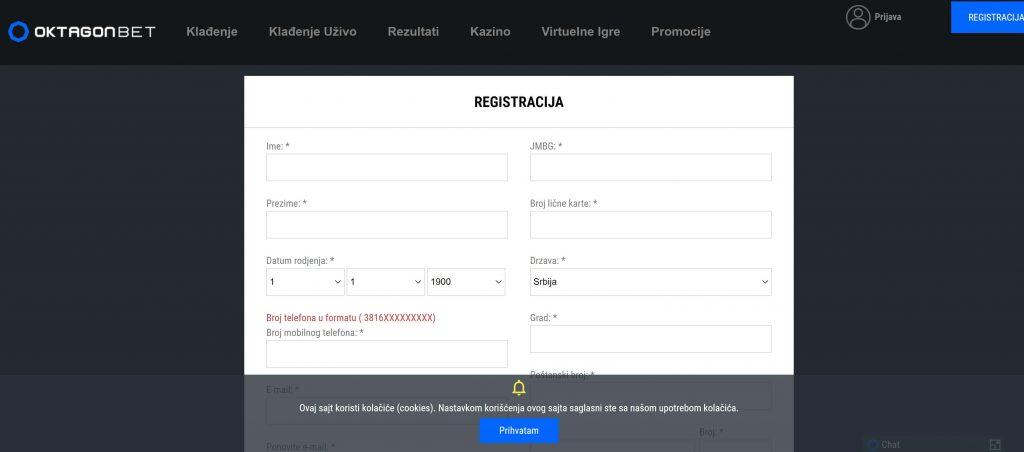 Kako se registrovati na Oktagonbet